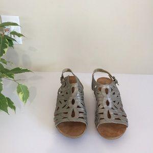 Josef Seibel silver sling back open toe sandals